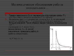 Математическое обоснование работы холодильника.... График зависимости Q2 от т