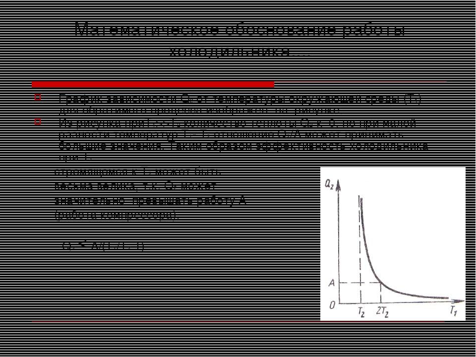 Математическое обоснование работы холодильника.... График зависимости Q2 от т...