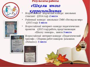 Результаты работы «Школы юного корреспондента» Всероссийский творческий конку