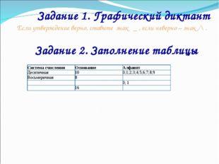 Задание 1. Графический диктант Если утверждение верно, ставите знак _ , если