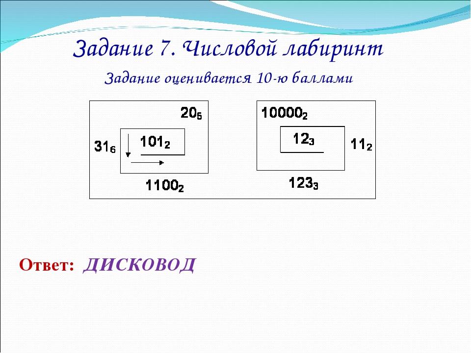 Задание 7. Числовой лабиринт Задание оценивается 10-ю баллами Ответ: ДИСКОВОД