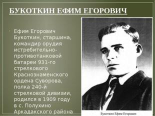 БУКОТКИНЕФИМ ЕГОРОВИЧ Ефим Егорович Букоткин, старшина, командир орудия истр