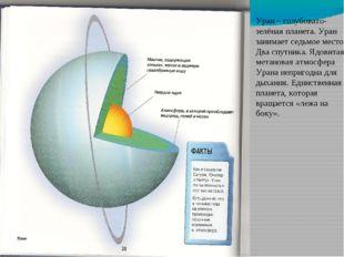 Уран – голубовато-зелёная планета. Уран занимает седьмое место. Два спутника.
