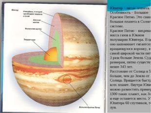 Юпитер – пятая планета. Особенность – Большое Красное Пятно. Это самая больша