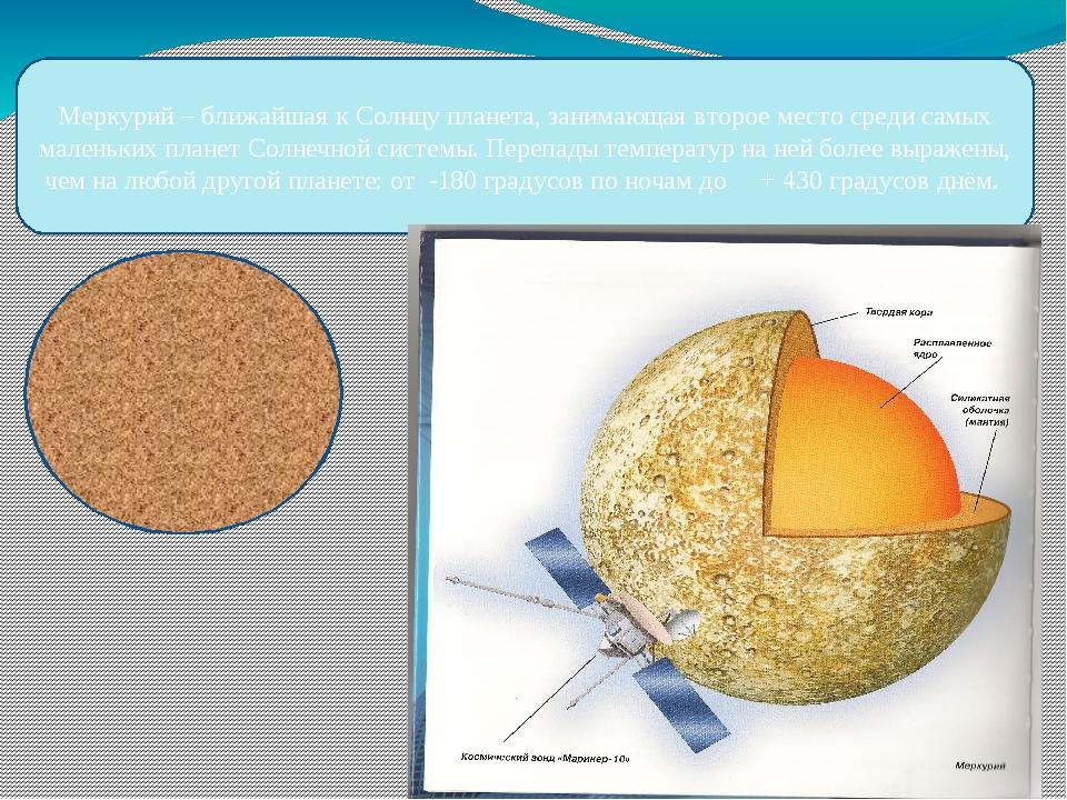 Меркурий – ближайшая к Солнцу планета, занимающая второе место среди самых ма...