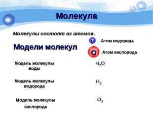 Модели молекул Модель молекулы воды Модель молекулы водорода Модель молекулы