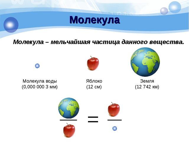 Молекула Молекула – мельчайшая частица данного вещества. Земля (12 742 км) Яб...