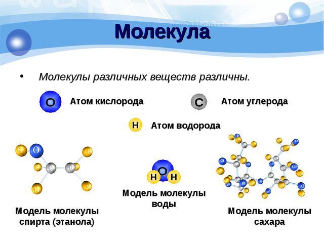 Молекулы различных веществ различны. Молекула О Н С Атом водорода Атом кислор...