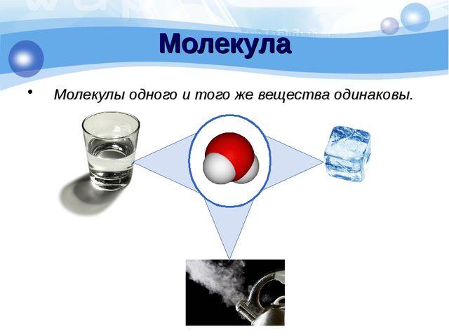 Молекулы одного и того же вещества одинаковы. Молекула