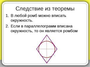 В любой ромб можно вписать окружность. Если в параллелограмм вписана окружнос
