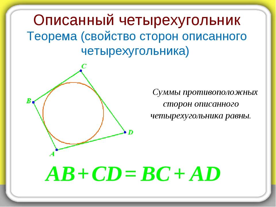 Описанный четырехугольник Теорема (свойство сторон описанного четырехугольник...