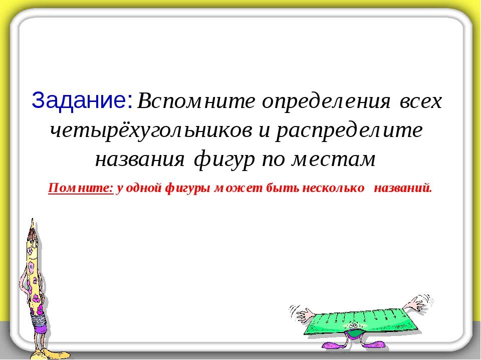 Задание: Вспомните определения всех четырёхугольников и распределите названия...