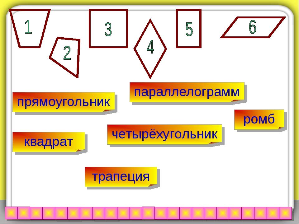 трапеция параллелограмм квадрат прямоугольник ромб четырёхугольник