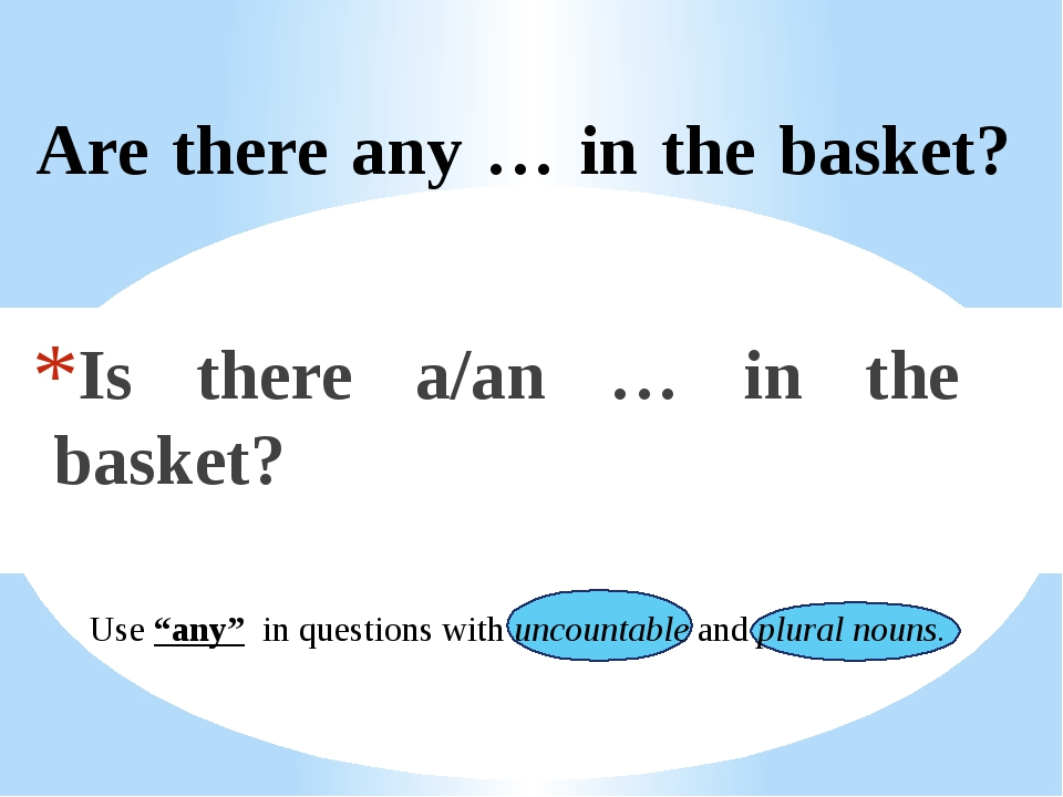 """Are there any … in the basket? Is there a/an … in the basket? Use """"any"""" in q..."""