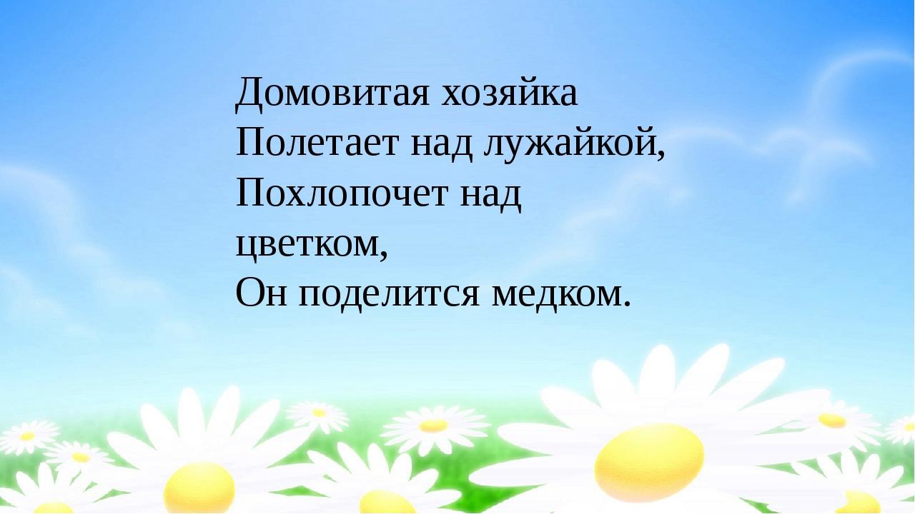 Домовитая хозяйка Полетает над лужайкой, Похлопочет над цветком, Он поделитс...