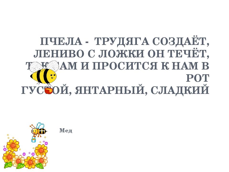 ПЧЕЛА - ТРУДЯГА СОЗДАЁТ, ЛЕНИВО С ЛОЖКИ ОН ТЕЧЁТ, ТАК САМ И ПРОСИТСЯ К НАМ В...