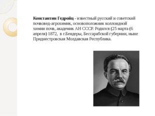Константин Гедройц - известный русский и советский почвовед-агрохимик, осново
