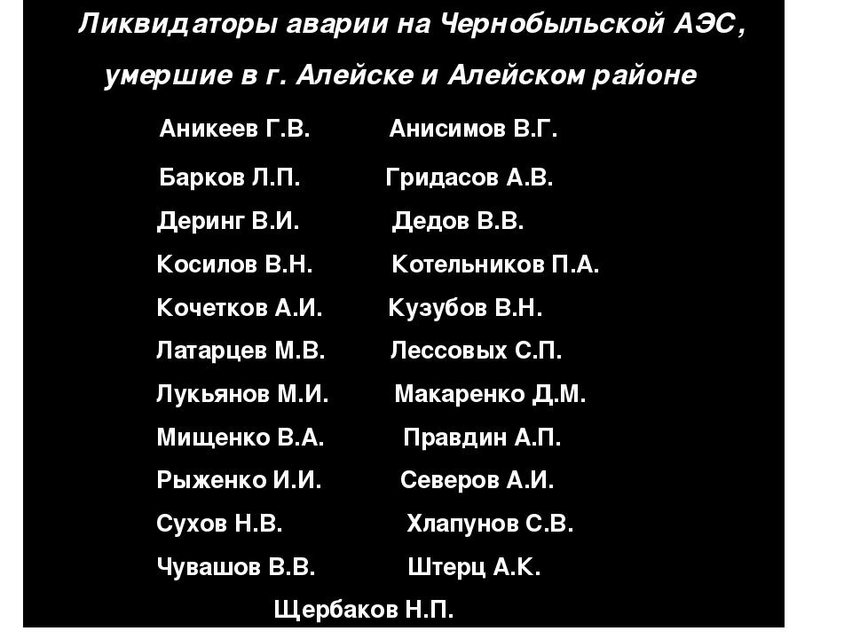 Ликвидаторы аварии на Чернобыльской АЭС, умершие в г. Алейске и Алейском рай...