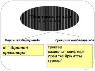 Сақтар туралы алғашқы мәліметтер Парсы жазбаларында Грек-рим жазбаларында «қ
