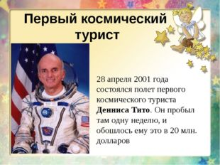 Первый космический турист 28 апреля 2001 года состоялся полет первого космиче