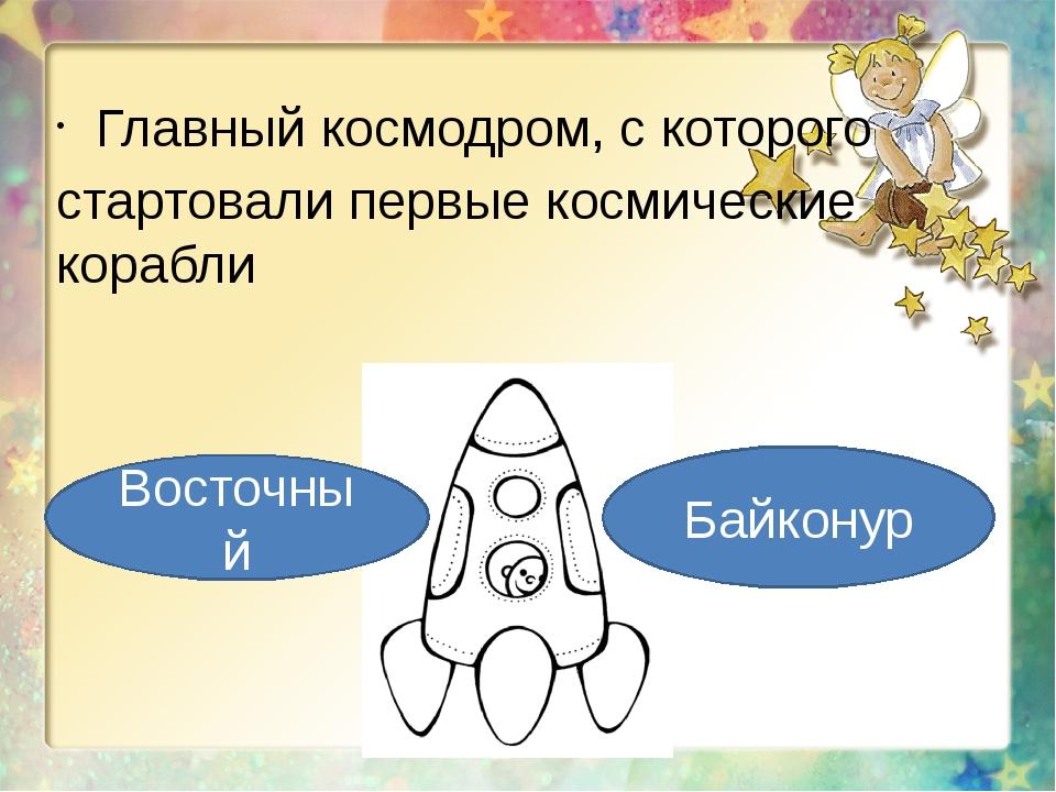 Главный космодром, с которого стартовали первые космические корабли Восточный...