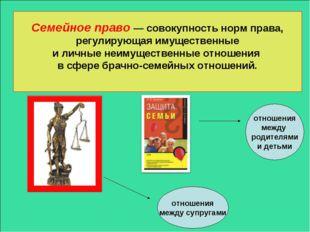 Семейное право — совокупность норм права, регулирующая имущественные и личные