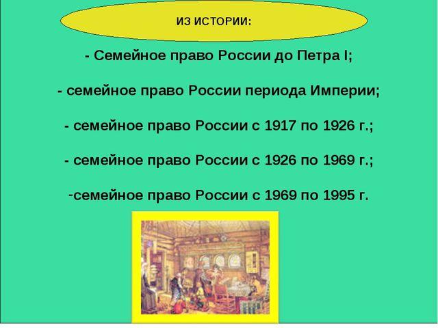 - Семейное право России до Петра I; - семейное право России периода Империи;...
