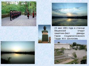23 мая 1981 года в станице Вёшенской открыт памятник-бюст дважды Героя Социал