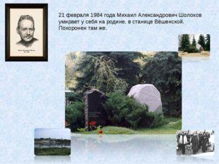 21 февраля 1984 года Михаил Александрович Шолохов умирает у себя на родине, в