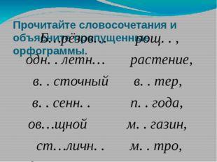 Прочитайте словосочетания и объясните пропущенные орфограммы. Б…рёзов… рощ. .