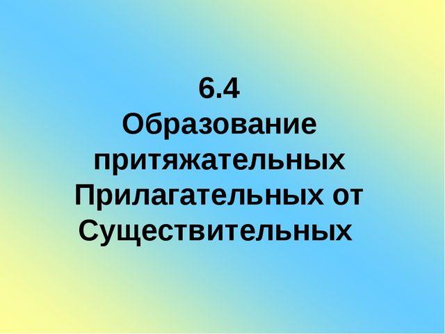 6.4 Образование притяжательных Прилагательных от Существительных