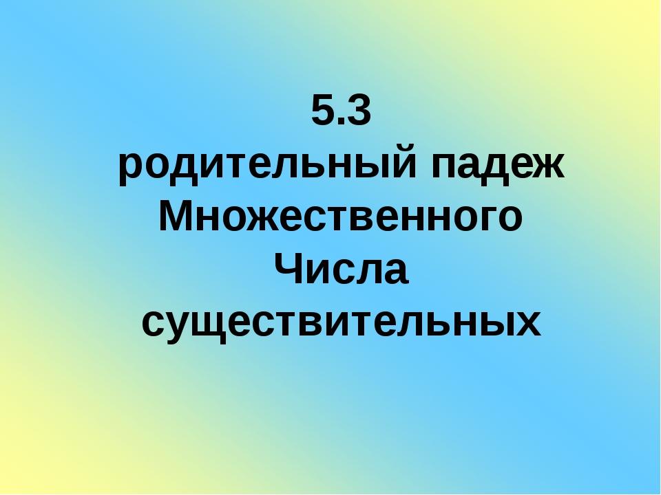5.3 родительный падеж Множественного Числа существительных
