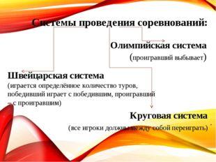 . Олимпийская система (проигравший выбывает) Системы проведения соревнований: