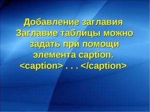 Добавление заглавия Заглавие таблицы можно задать при помощи элемента caption