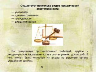 Существует несколько видов юридической ответственности: — уголовная — админис