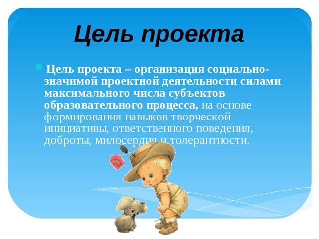 Цель проекта – организация социально-значимой проектной деятельности силами м...