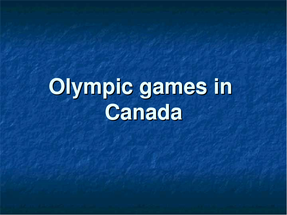 Olympic games in Canada