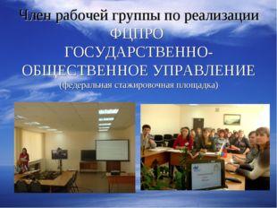 Член рабочей группы по реализации ФЦПРО ГОСУДАРСТВЕННО- ОБЩЕСТВЕННОЕ УПРАВЛЕН