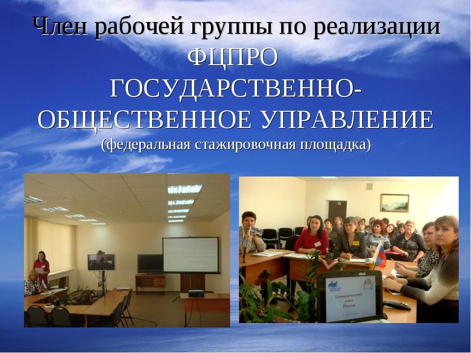 Член рабочей группы по реализации ФЦПРО ГОСУДАРСТВЕННО- ОБЩЕСТВЕННОЕ УПРАВЛЕН...