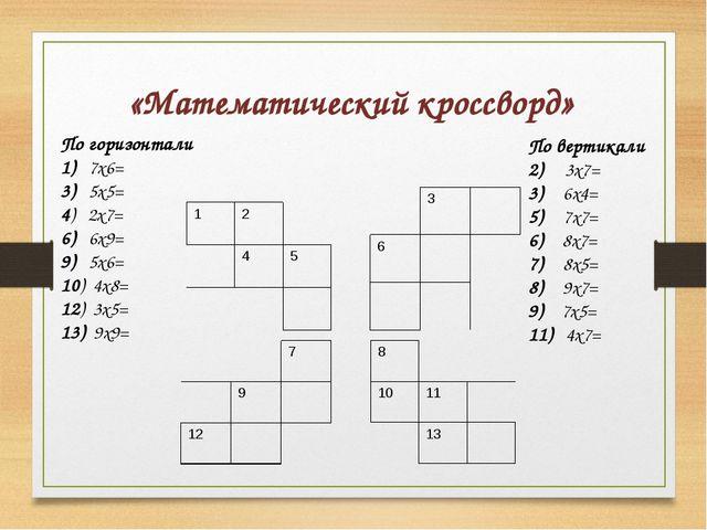 «Математический кроссворд» По горизонтали 1) 7х6= 3) 5х5= 4) 2х7= 6) 6х9= 9)...