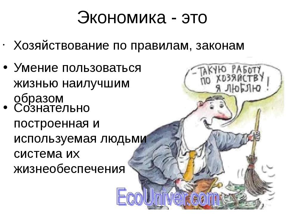 Экономика - это Хозяйствование по правилам, законам Умение пользоваться жизнь...