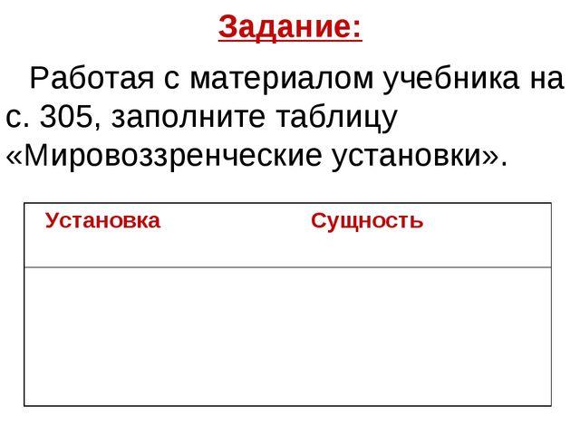 Задание: Работая с материалом учебника на с. 305, заполните таблицу «Мировозз...