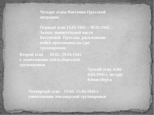 Четыре этапа Восточно-Прусской операции. Первый этап 13.01.1945 – 30.01.1945...