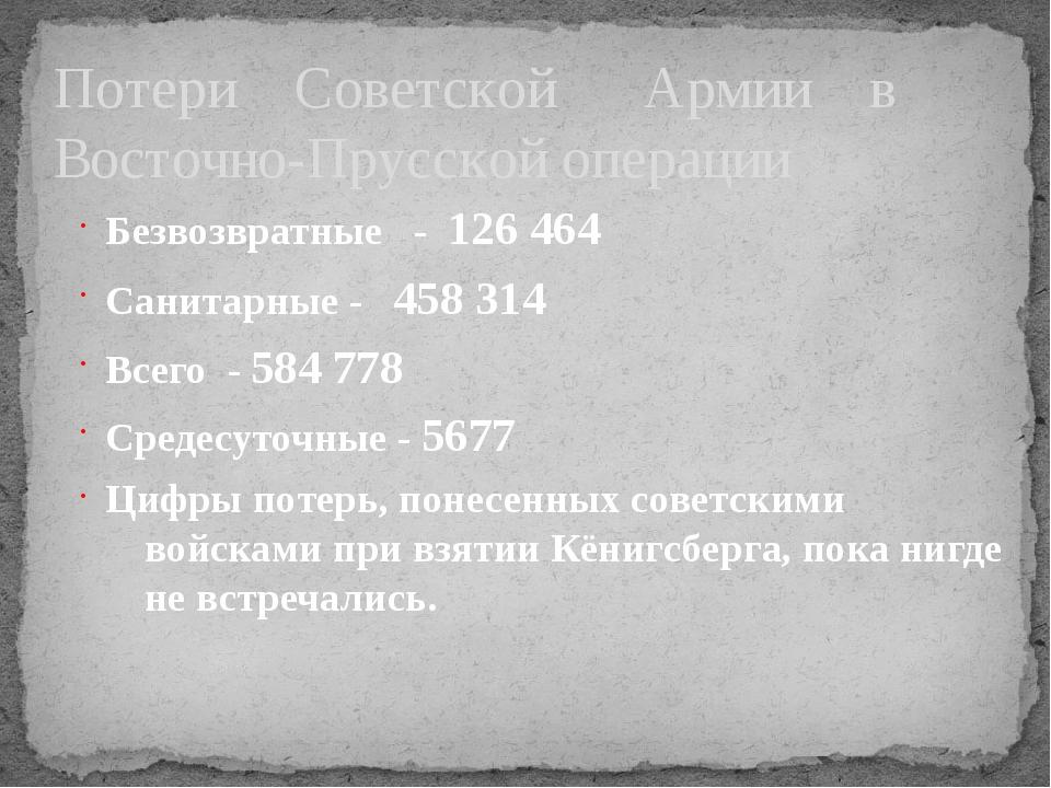 Потери Советской Армии в Восточно-Прусской операции Безвозвратные - 126 464...