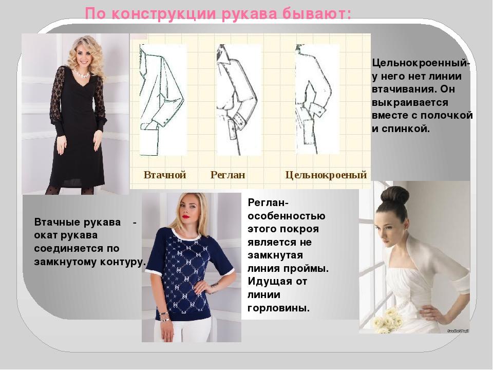 По конструкции рукава бывают: Втачные рукава - окат рукава соединяется по за...