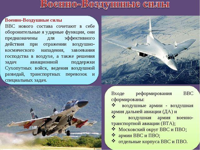 Военно-Воздушные силы ВВС нового состава сочетают в себе оборонительные я уд...