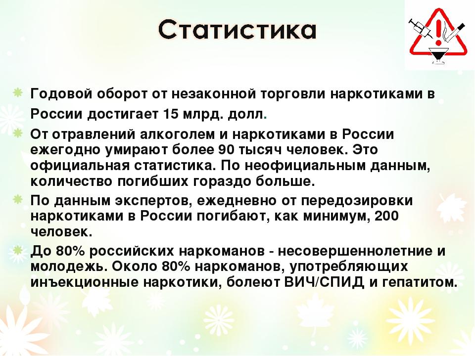 Годовой оборот от незаконной торговли наркотиками в России достигает 15 млрд....