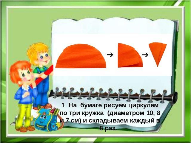 1. На бумаге рисуем циркулем по три кружка (диаметром 10, 8 и 7 см) и склады...