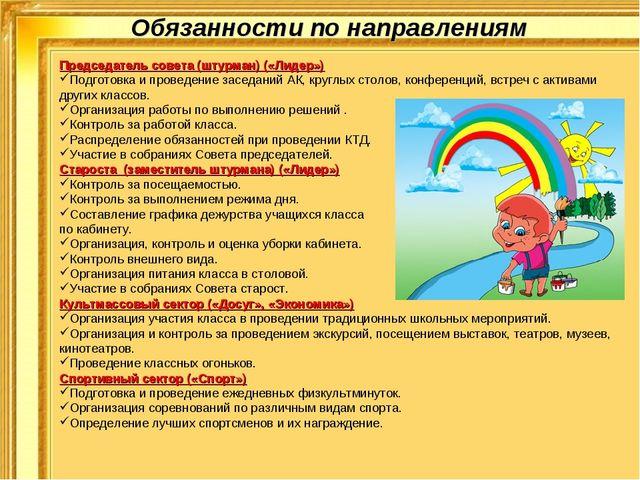 Обязанности по направлениям Председатель совета (штурман) («Лидер») Подготовк...