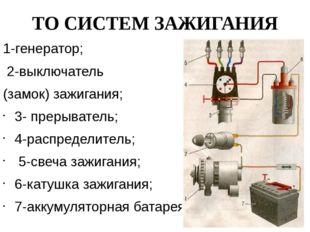ТО СИСТЕМ ЗАЖИГАНИЯ 1-генератор; 2-выключатель (замок) зажигания; 3- прерыват